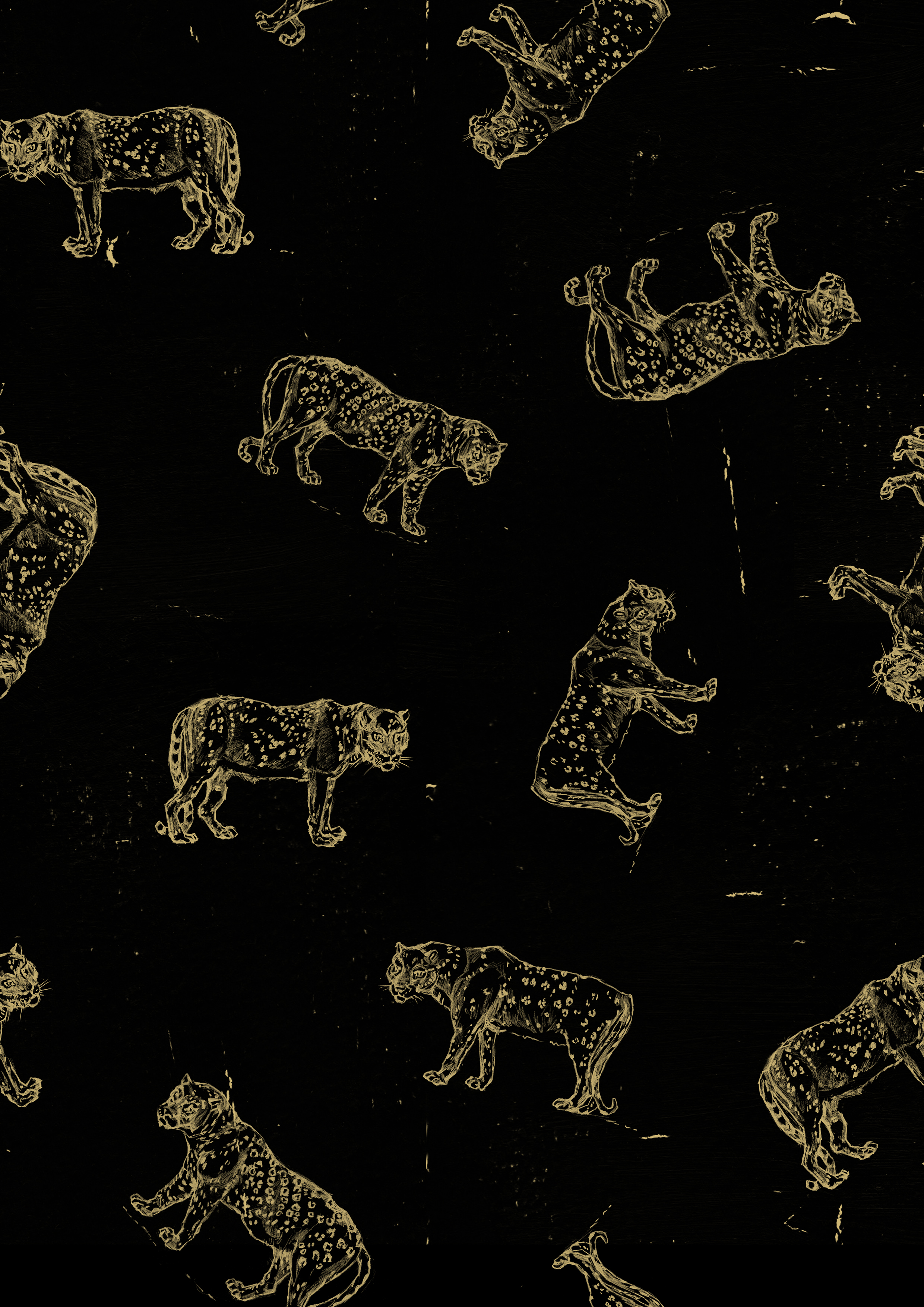 Golden Leopards    Golden Leopards  by Victoria Jones for sand&palm Another Land/Sand collection. It is inspired by the big cats that roam exotic places in faraway lands.