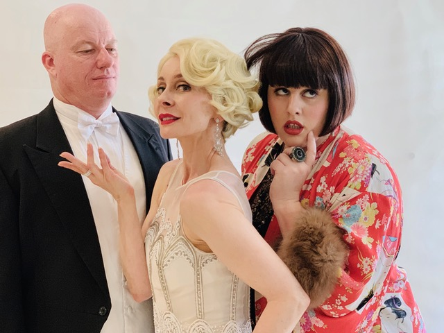 Strike a pose: Antony McShane as Carstairs, Rebecca Smee as Duch and Kristelle Zibara as Gertie.