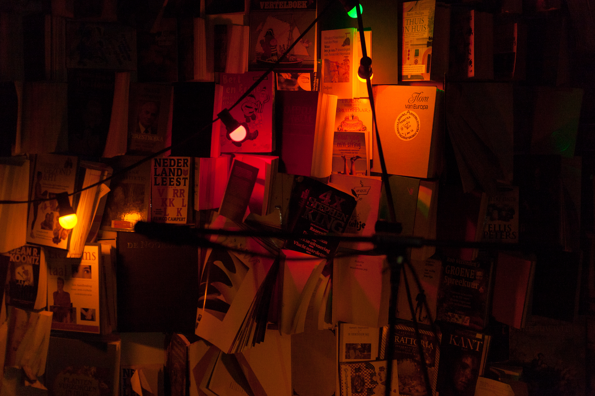 Red light district ambiance in one of Rilan's music chambers as old books are used to absorb sound, Photo credit: Richard Terborg