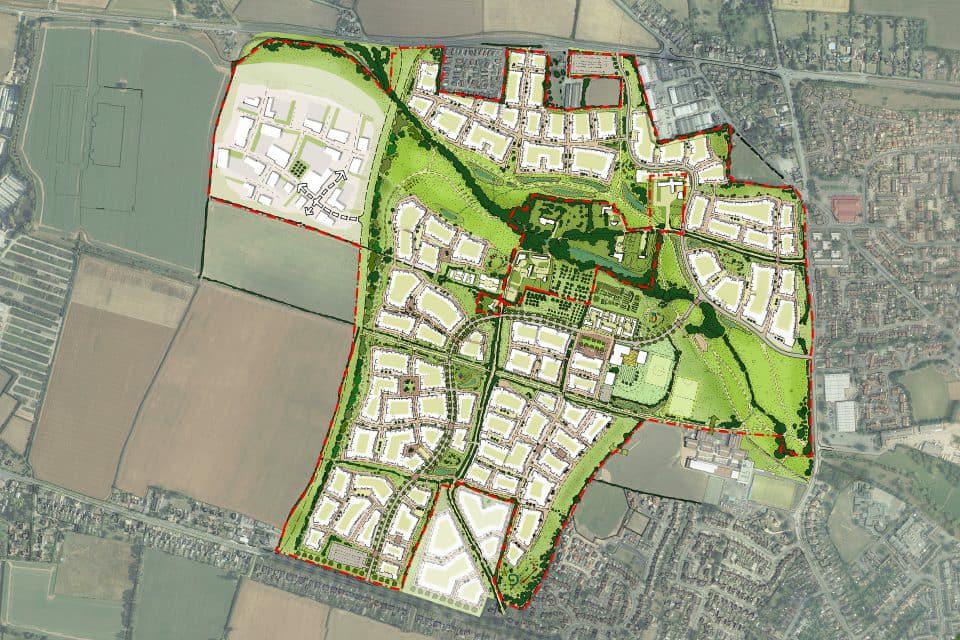 Site Plan For Three Elms Development surrounding Huntington Hamlet a designated Conservation Area.
