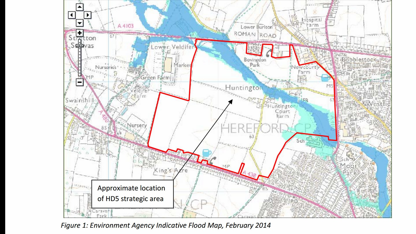 Flood Map and Site plan Three Elms. Note the extent of surface flooding in pale blue, even before soil sealing from the proposed development upstream of the City.
