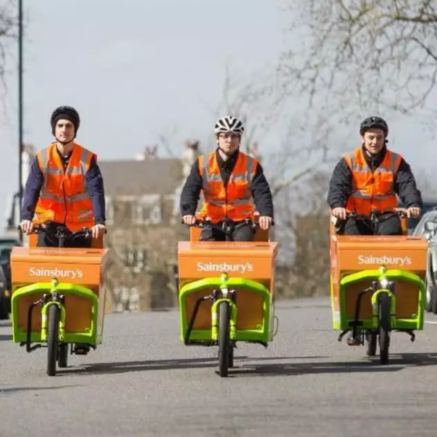 Goods and Freight - Big companies in the UK, like Sainsbury's, are coming over to the idea that delivering in urban areas needs to be more environmentally friendly and are now testing electric bicycle deliveries with the intention of rolling these out across the country.In Europe, trams are used to deliver freight within cities. Cafes, supermarkets and other stores can send and collect their goods in large quantities on passenger trams.Rail is one of the more efficient ways of transferring freight and is becoming more popular, especially from major cities, industrial sectors and ports.Hereford has a good rail freight infrastructure. It is situated at Moreton on Lugg next to the industrial estate. Trains have access to the national network from here, so freight can travel right across the country in almost any direction. Improved signalling on the line would improve capacity and enable expansion of local industry and increased use of the line for the transportation of freight. This would reduce the need for road transport.Photo: Sainsbury'sClick here for more key facts about cyclingClick Photo for Video