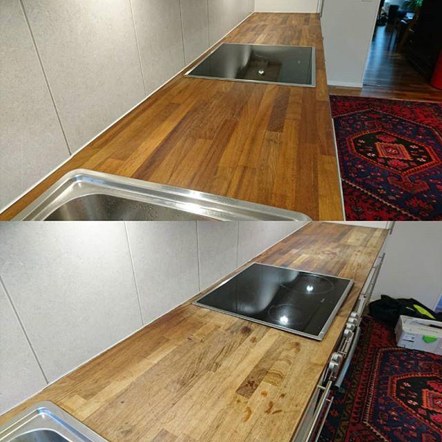 Keittiötason käsittely. Allas, liesi ja kaikki vanhat silikonit poistettiin, jonka jälkeen tasot hiottiin huolella ja käsiteltiin OsmoColor Topoililla kolmeen kertaan. Kalusteet takas ja uudet silikonit ja lopputulos on kuin uusi. #renokremontit #osmocolor #osmocolortopoil #puutaso #keittiötasonhionta