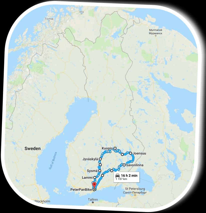 Lake Finland motorbike tour map!
