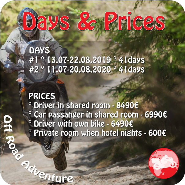 Motorcycle tour with KTM from Tallin to Valdivostok