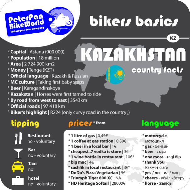 Bikers basics - Kazakstan country facts!