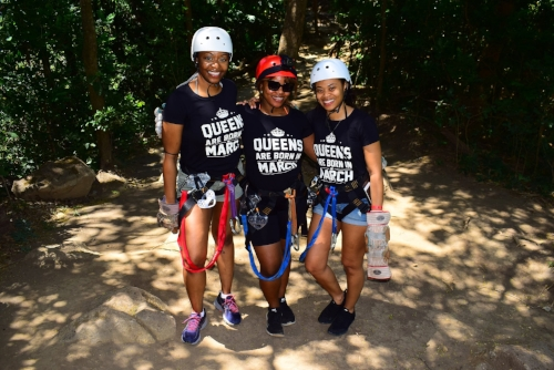 Queens are born in March! before zip lining