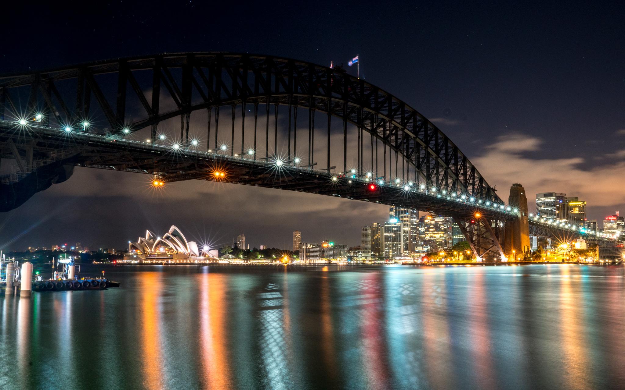 Sydney Opera and Harbour Bridge at night