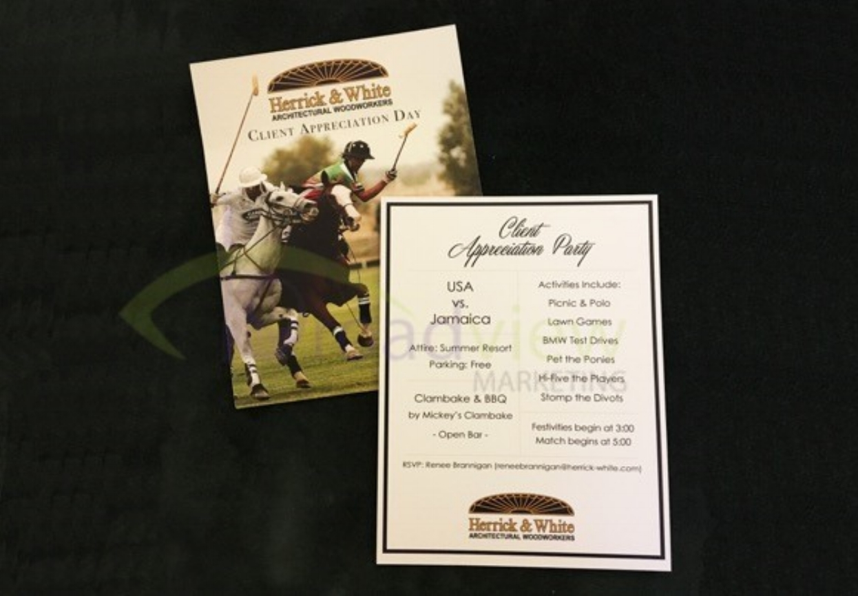 Client: Herrick & White Architectural Woodworkers    Client Appreciation Day with a kick off party hosted at Newport Polo Match- included reserved seating. BMW Test Drives and a chance to meet the team.    Event concept and management    Invitations