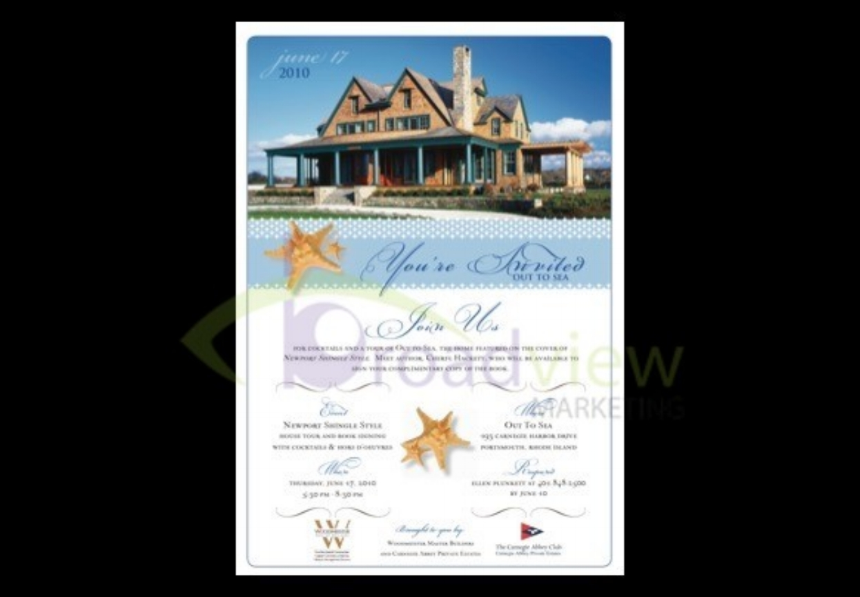 """Client: Woodmeister Master Builders & Carnegie Abbey Club    Book signing and open house for Woodmeister Master Builders' completed home, """"Out to Sea"""" - marketed by exclusive Carnegie Abbey Club Development    Press Release    Media Coverage - NECN    Event concept and management    Invitation"""