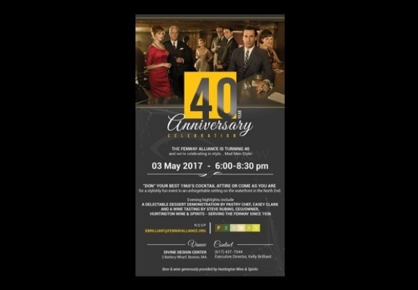 Client: Fenway Alliance    Members only celebration of organization's 40th Anniversary with Mad Men theme, dessert demo and wine tasting    Event Concept and management    Invitation