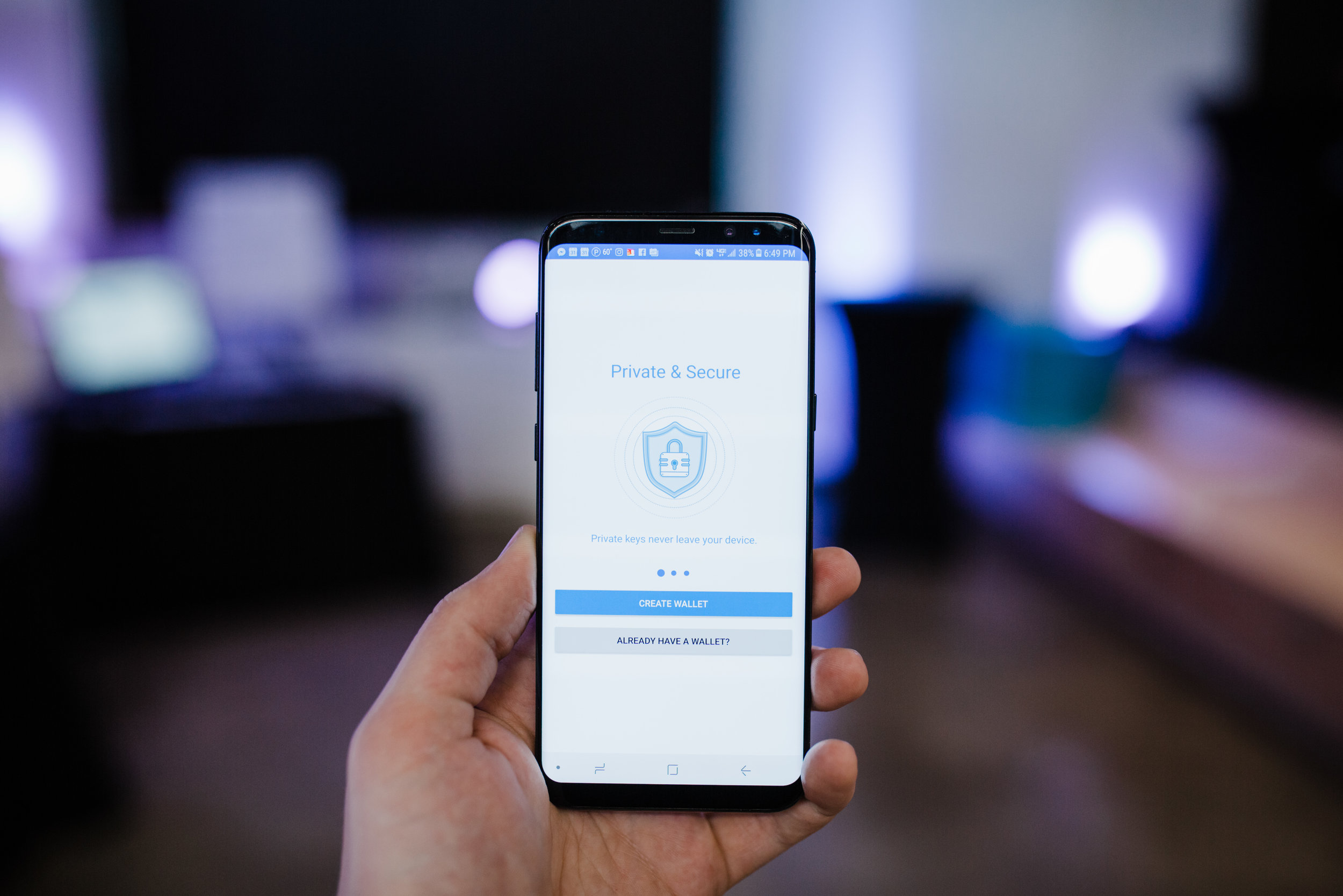 The Trust Wallet app used for the event.