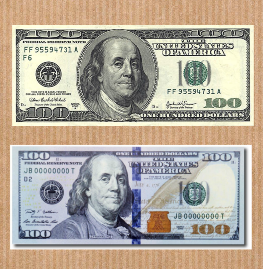 top: old series note, bottom: new edition note.