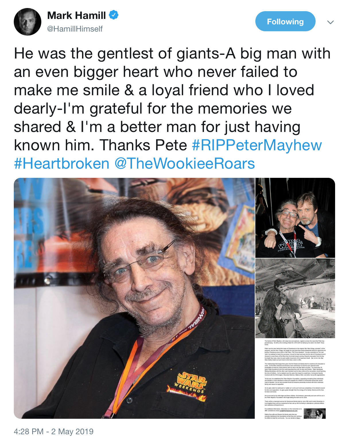 Mark Hamill's tweet regarding the passing of Mayhew.