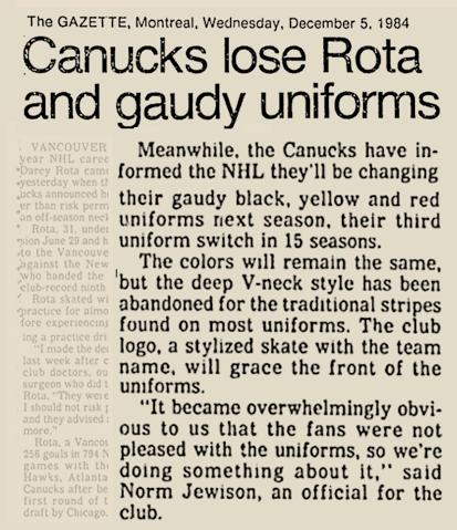 1984 CANUCKS