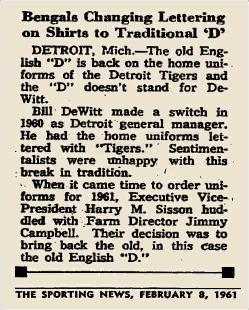 1961 TIGERS ARTICLE