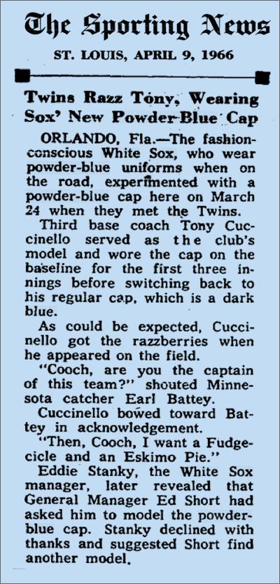 1966 CHISOX CAPS
