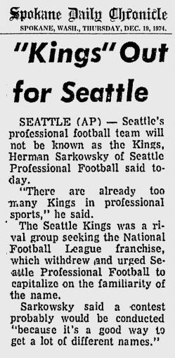 KINGS OUT FOR SEATTLE