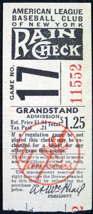 1946 YANKEES STUB