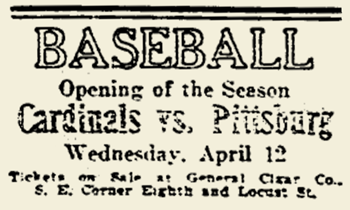 1922 CARDINALS OPENING DAY AD