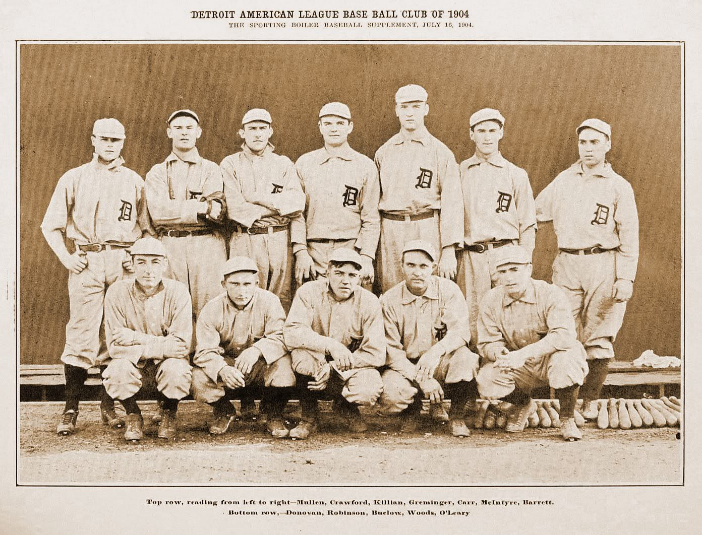 "The Tigers joined the American League as charter members in 1901. Three years later they wore the ""D"" on their road uniforms."