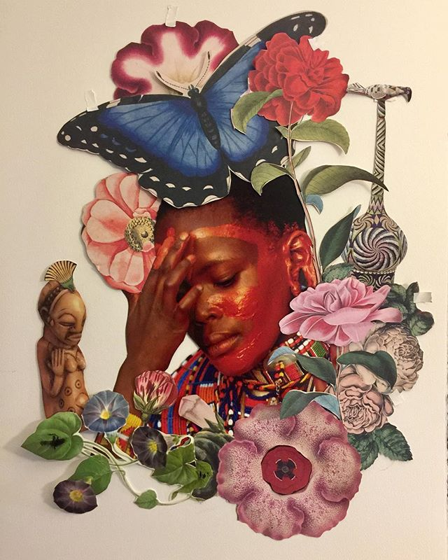 "A work in progress this morning .... was feeling uninspired, but Spirit moved me toward this work -  I Bloom in My Circumstance - 30""x22"" Collage on Arches paper  #janettaylorpickett #collageart #collageartist #womenartists #blackartists"
