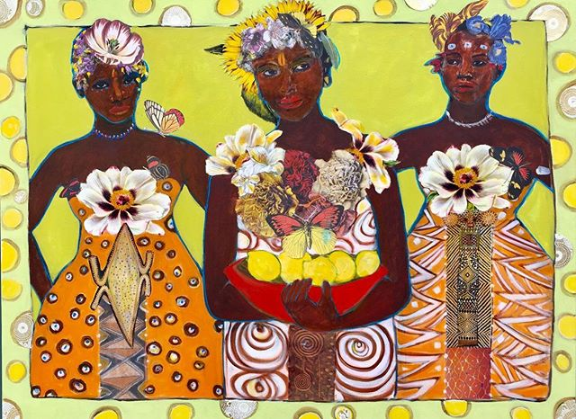 "These Women - Exotica Botanica Series  48""x36"" 2019  Acrylic, Collage & mixed media on canvas  #janettaylorpickett #acrylicpainting #collageoncanvas #collageart #collageartist #contemporaryart #womenartists #africandiaspora #mixedmediaoncanvas #botanicalart #curatorsl"