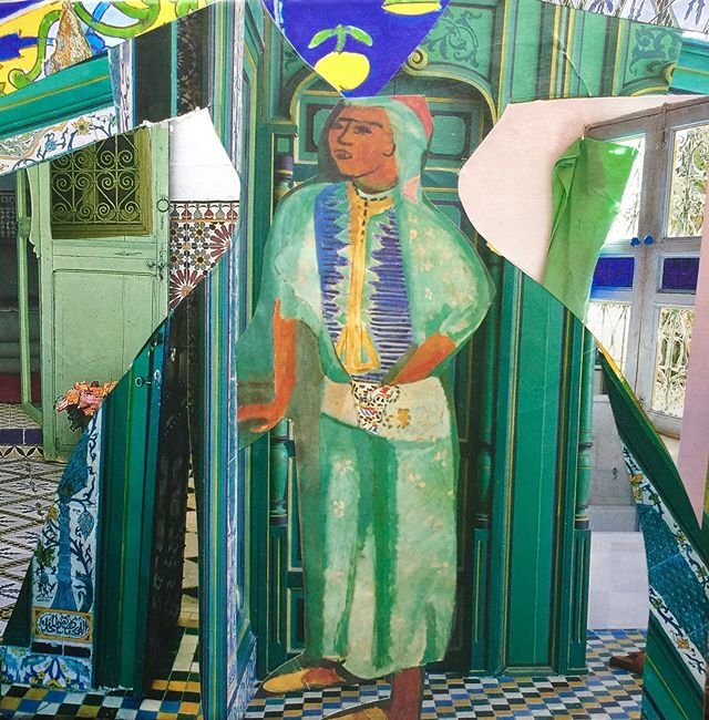 #tbt  Moroccan Doorway 2013  A collage work on canvas from my Matisse Series.  I did a series of work inspired by Matisse -  Janet Taylor Pickett  The Matisse Series @ The Montclair Art Museum in 2016  The work was also inspired by interiors & doorways, as well as work Matisse did in Morocco  #janettaylorpickett #collageart #collageartist  #collageoncanvas #matisseinspired #womenartists #africanamericanartist #dressart #contemporaryart
