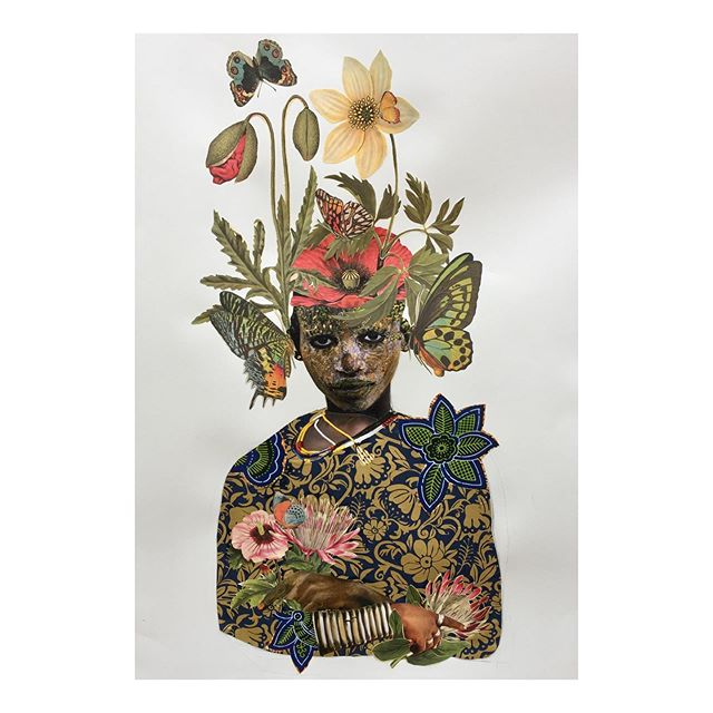 "She Knows The Secret -  Exotica Botanica Series  2019  Collage & Acrylic on 29""x42"" Arches paper.  #janettaylorpickett #collageartist #worksonpaper #womenartists #contemporaryart #contemporarycollage #africanamericanartist #africandiaspora #botanicalart"
