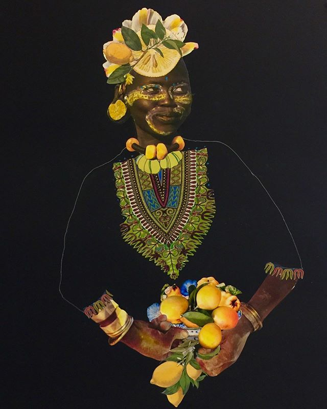 "The Lemon Lady - Exotica Botanica Series Collage, pen&ink, Acrylic on Black paper 30""x42""  #janettaylorpickett #collageart #collageartist #mixedmediacollage #womenartists #blackart #contemporaryart #contemporarycollage #curator #africandiasporaart"