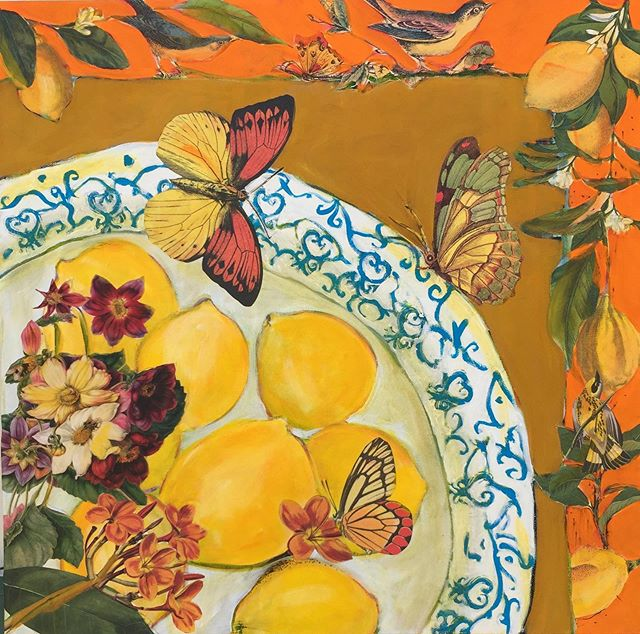 "An Offering of Lemons, Flowers, Birds & Butterflies  Sometimes you just gotta paint stuff that's fun & happy.  This is a small 20""x20"" work that has grown out of sections of larger works where my love of lemons appear.  Living in Southern California inspired and introduced me to an abundance of lemons, especially those shared by neighbors.  #janettaylorpickett  #mixedmediaoncanvas #acrylicpainting #collageoncanvas #collageart #collageartist #stilllifepainting"