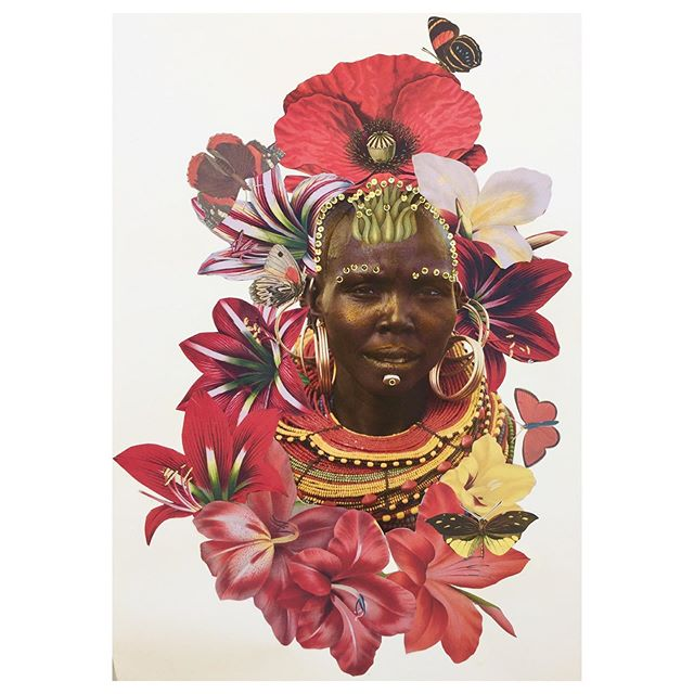 "There is Grace - Exotica Botanica Series 22""x30"" mixed media collage on Arches paper 2019  #janettaylorpickett #collageartworks #collageonpaper #collageartist #womenartists #africandiaspora #contemporaryart #curator #contemporarycollector #contemporarycollage"