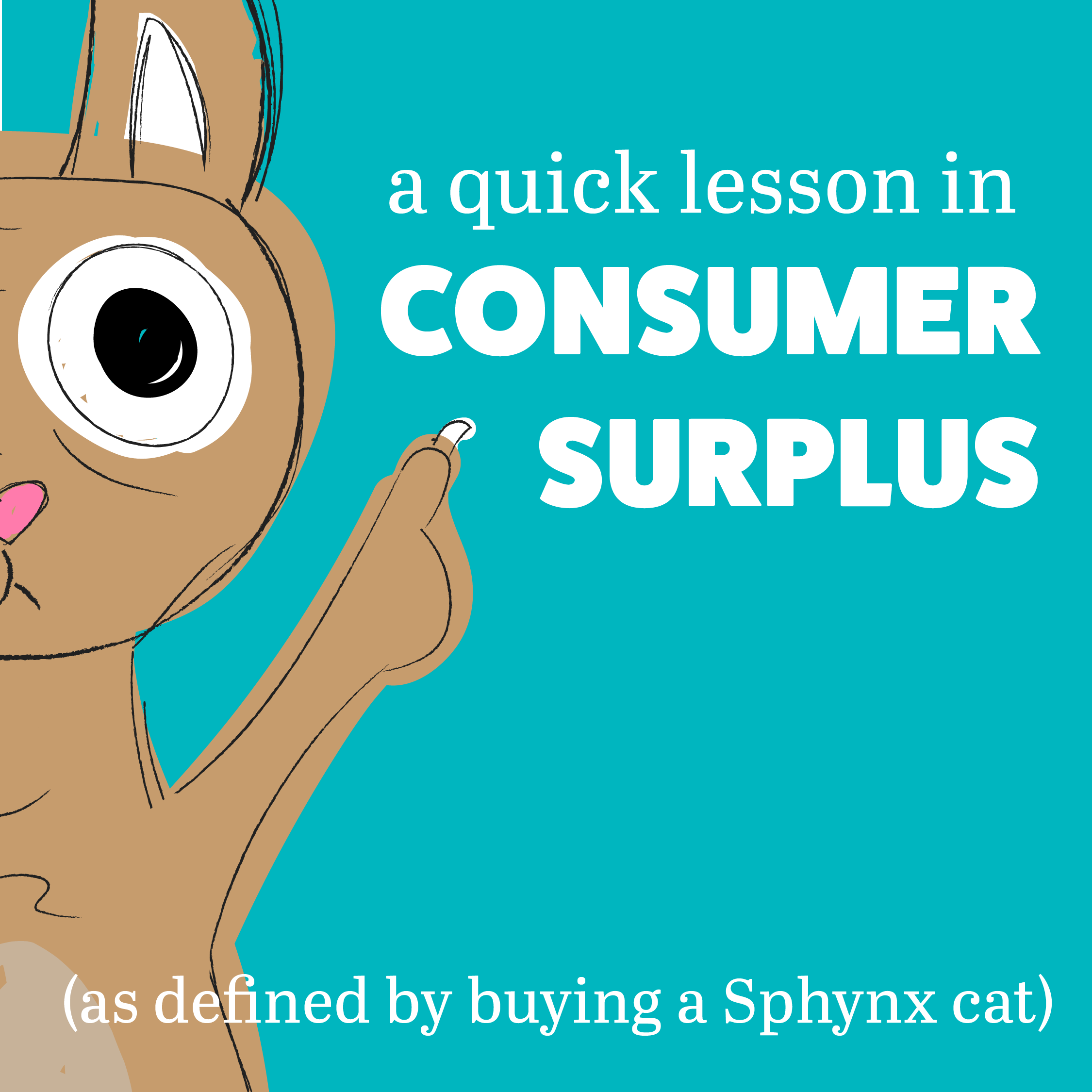 Learn more about consumer surplus, as defined by buying a Sphynx cat,  here .