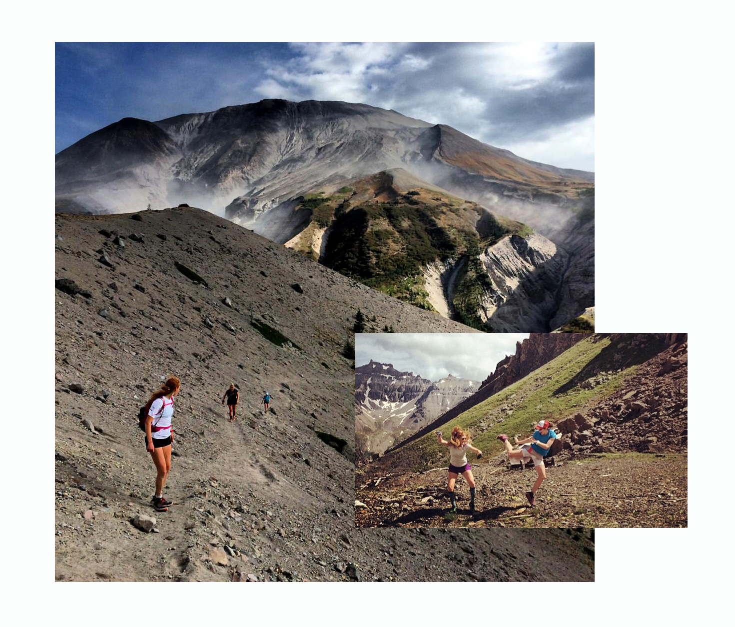 From left to right: A circumnavigation of Mt. St. Helens (photo by Tara Berry). On right, playing in Colorado's beautiful San Juan Mountains with Yitka Winn (photo by Jennifer Hughes).