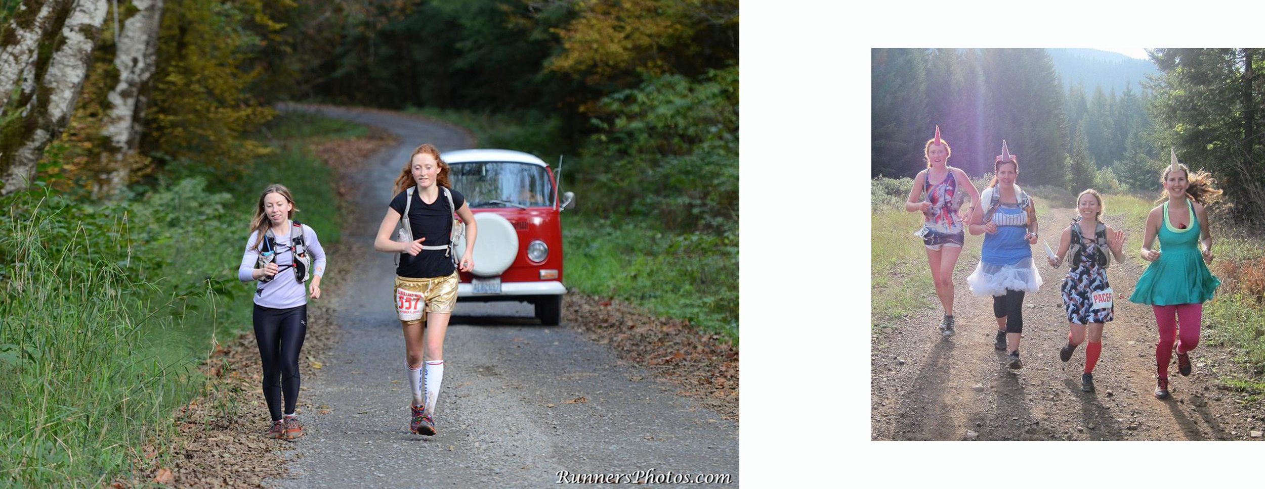 Left: Alicia's first 100km run at the Baker Lake Ultra (about 4 years ago), with partner in crime Tara Berry. Right: Alicia dressed up as a unicorn and ran 100 miles in less than a day at Cascade Crest 100 in 2015. She convinced her friends to come out dressed like unicorns, too. (Photo by Julien Lamoureux )
