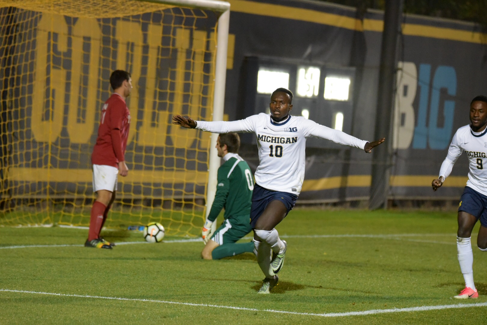 Francis Atuahene (10) celebrates his game winner with Mohammed Zakyi (9) in tow