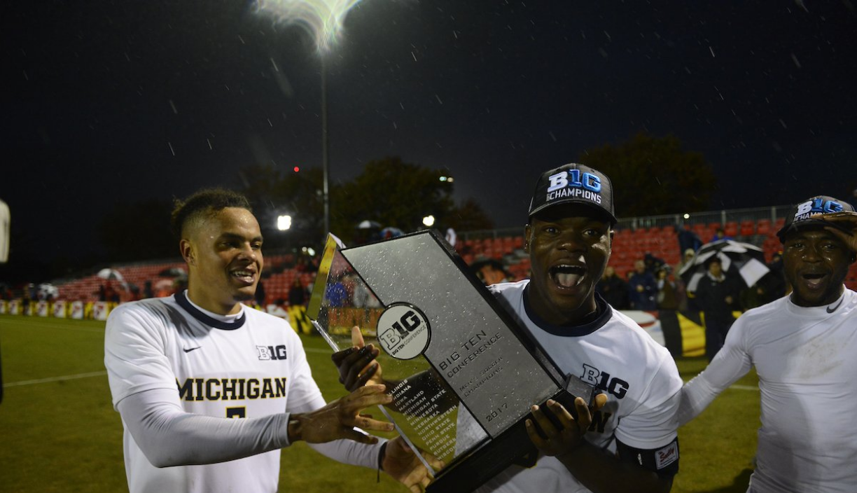 Abdou Samake (left) celebrates with the goal scorers - Daniel Mukuna (center) and Francis Atuahene (right)   Photo courtesy of: University of Michigan Men's Soccer ( @umichsoccer )