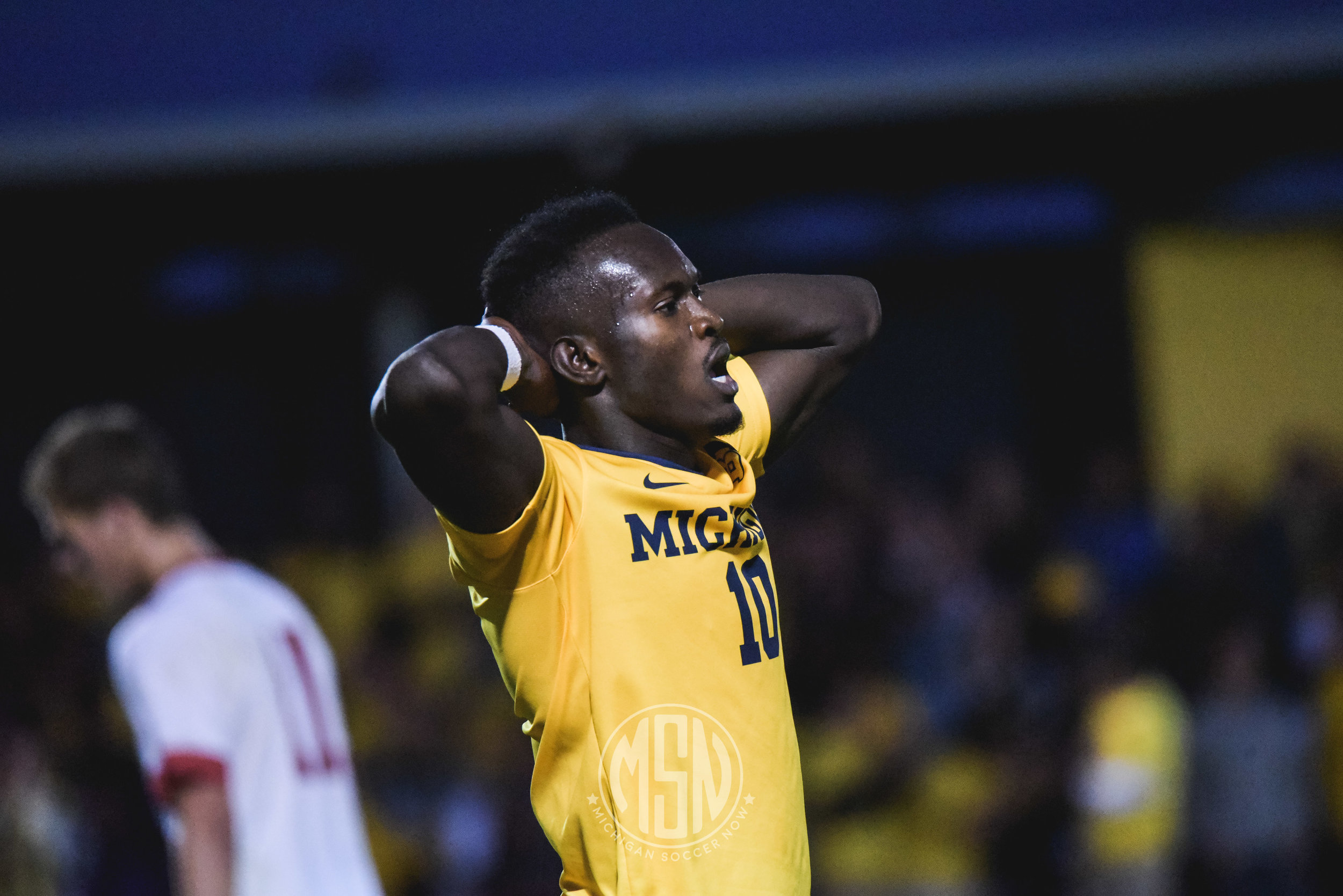 Francis Atuahene (10) against Wisconsin earlier this season. The Wolverines won that match up, 2-1.