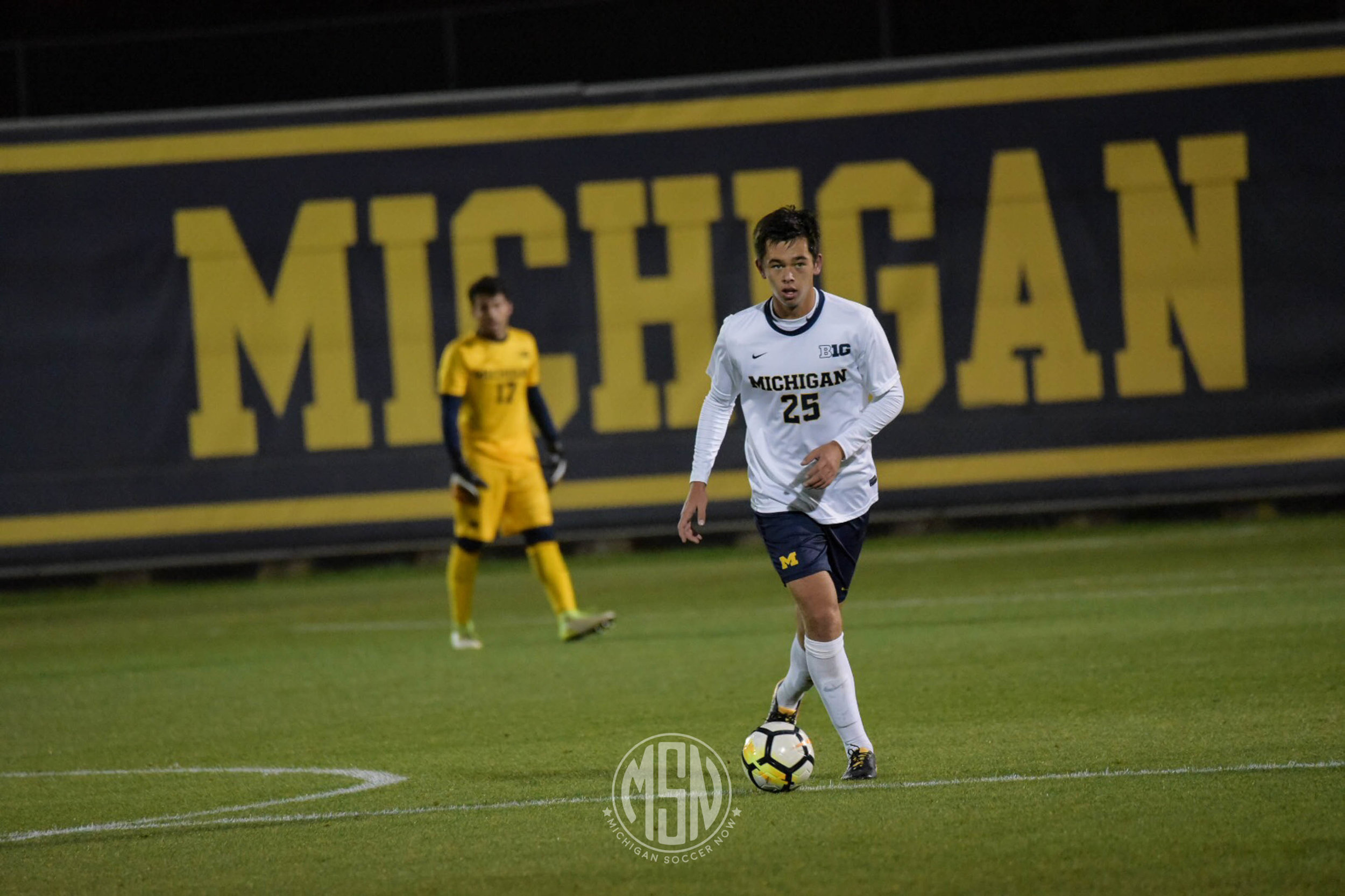 Jackson Ragen (#25) will hope to carve out a space in the Wolverines' eleven as a sophomore.