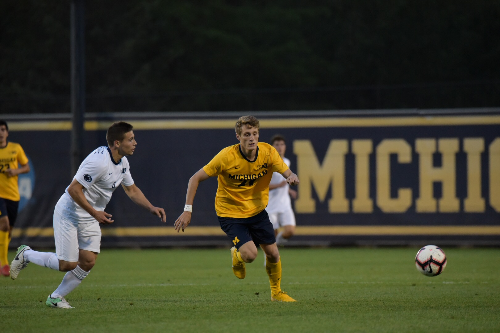 Lucas Rosendall chases down the ball in Friday night's 1-1 draw to Penn State.