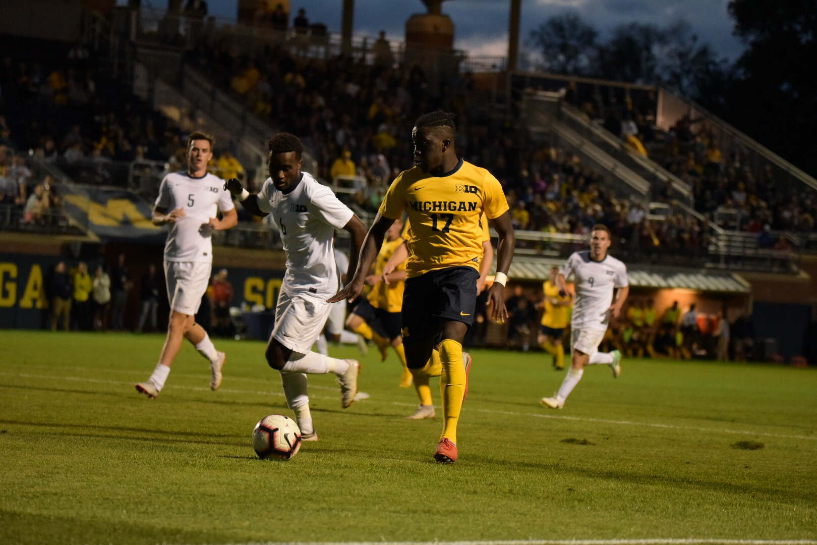 Sosa Emovon's first point of his Michigan career came in the 43rd minute with an assist.