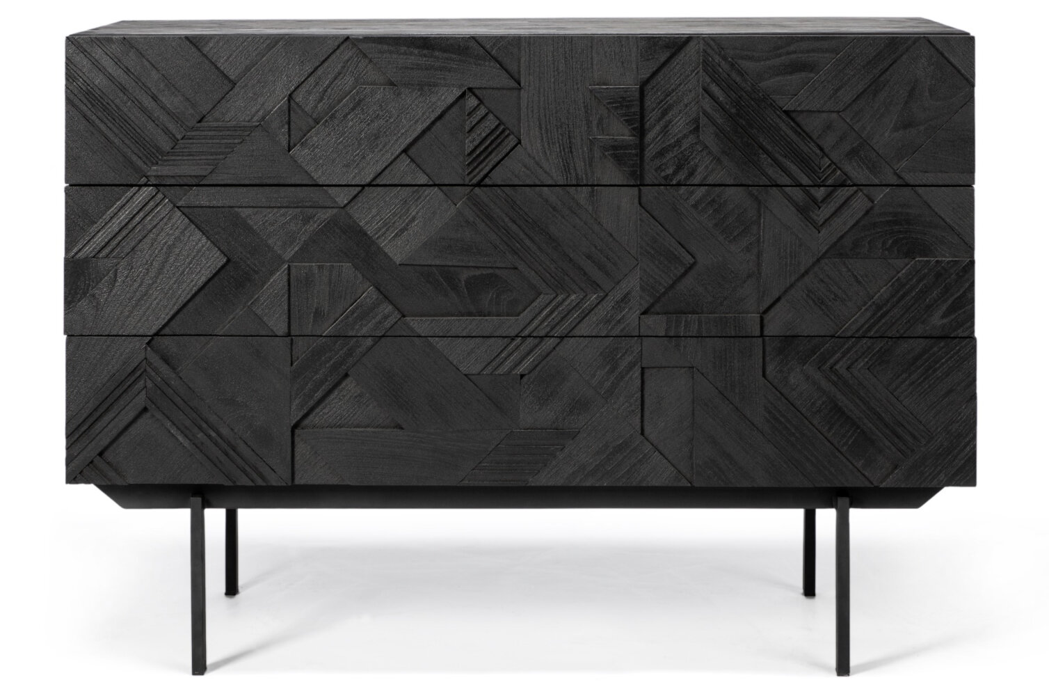 Industry West All Black Teak Graphic Chest of Drawers