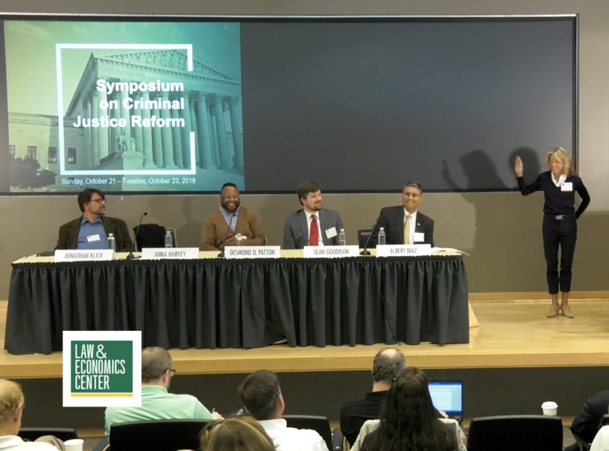 The New Technology of Policing; George Mason University October 2018 - Jonathan Klick, Professor of Law, University of Pennsylvania; Anna Harvey, Professor of Politics and Director, Public Safety Lab, New York University; Desmond Patton, Associate Professor of Social Work, Columbia University; Sean Goodison, Deputy Director, Police Executive Research Forum; Hon. Judge Albert Diaz, United States Court of Appeals for the 4th Circuit