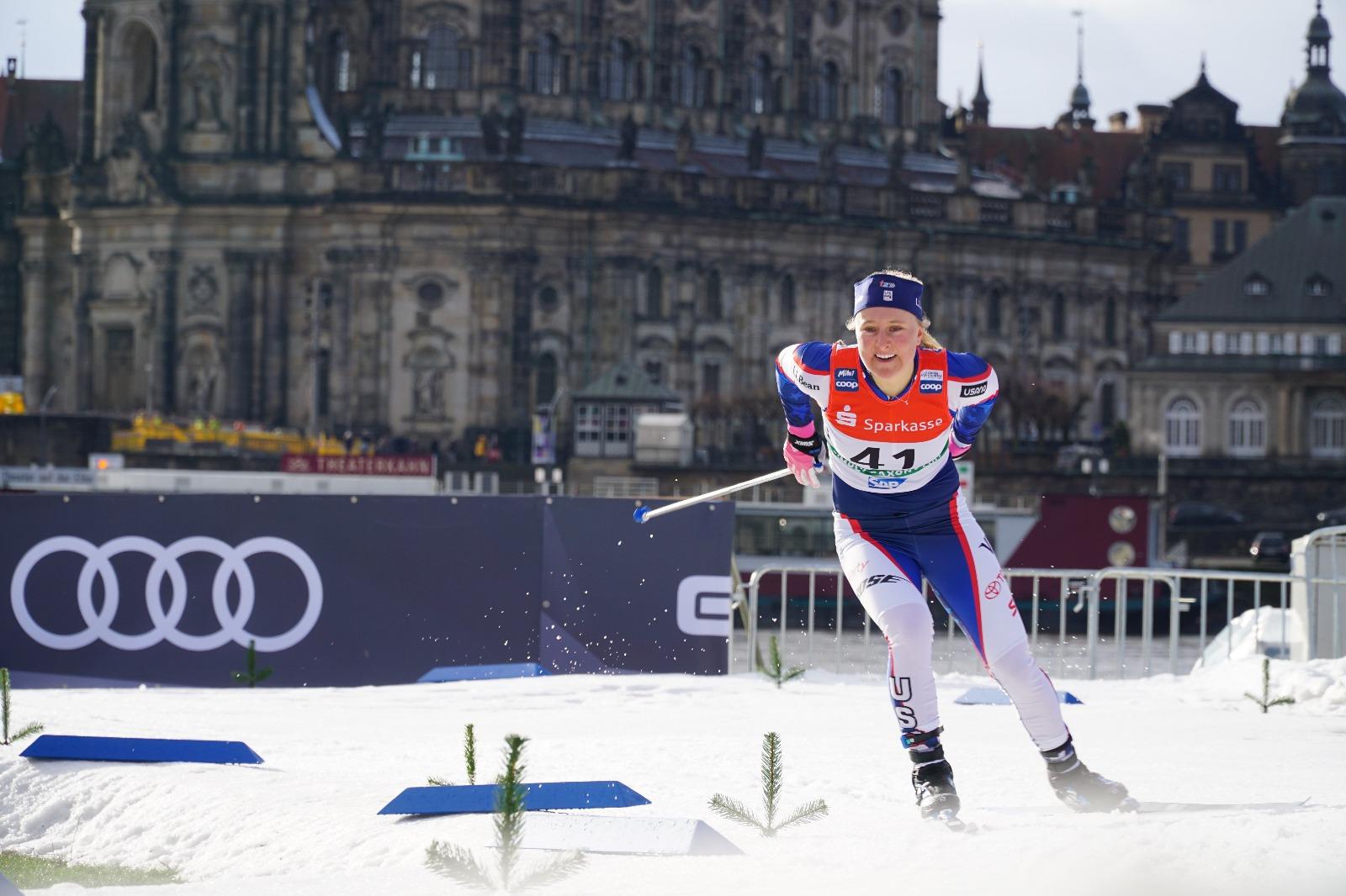 Hannah Halvorsen, class of 2016, racing on the World Cup in Dresden Germany. Photo credit: Garrott Kuzzy  lumiexperiences.com
