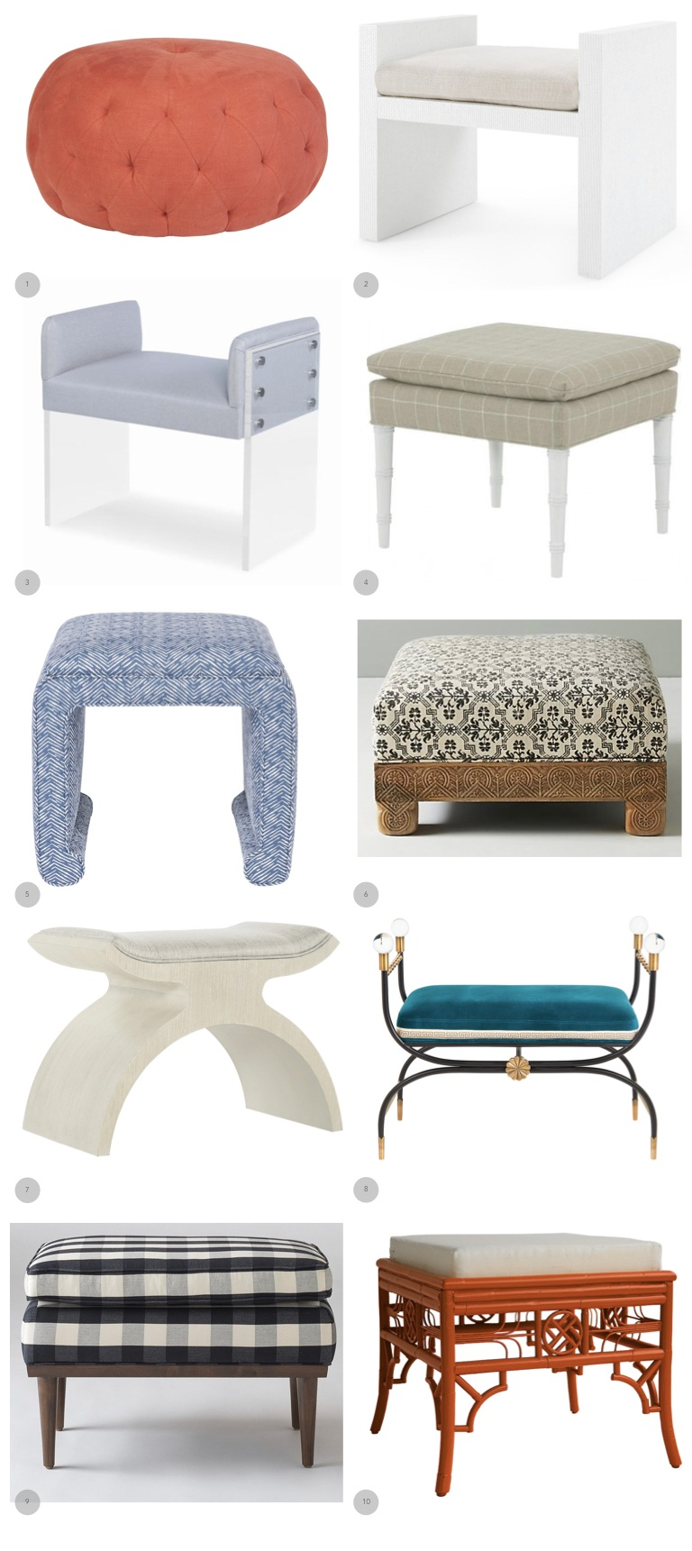 1.  Cisco Brothers  2.  Bungalow 5  3  Century Furniture  4.  Wesley Hall  5.  Vanguard  6.  Anthropologie  7.  Bernhardt  8.  Jonathan Adler  9.  Schoolhouse Electric  10.  Red Egg