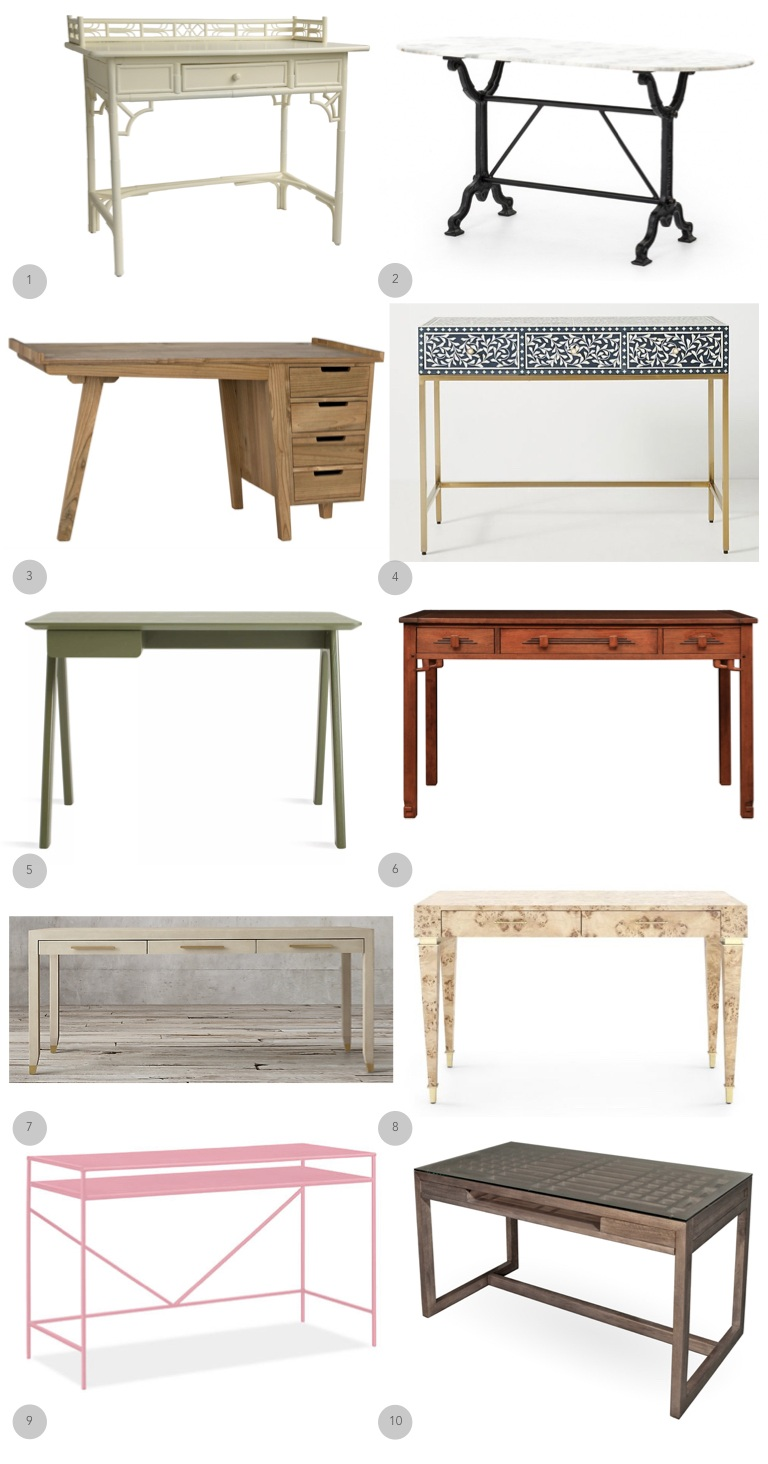 1.  Red Egg  2.  Four Hands Furniture  3.  Noir Furniture  4.  Anthropologie  5.  Blu Dot  6.  Stickley Furniture  7.  Restoration Hardware  8.  Bungalow 5  9.  Room + Board  10.  Maria Yee