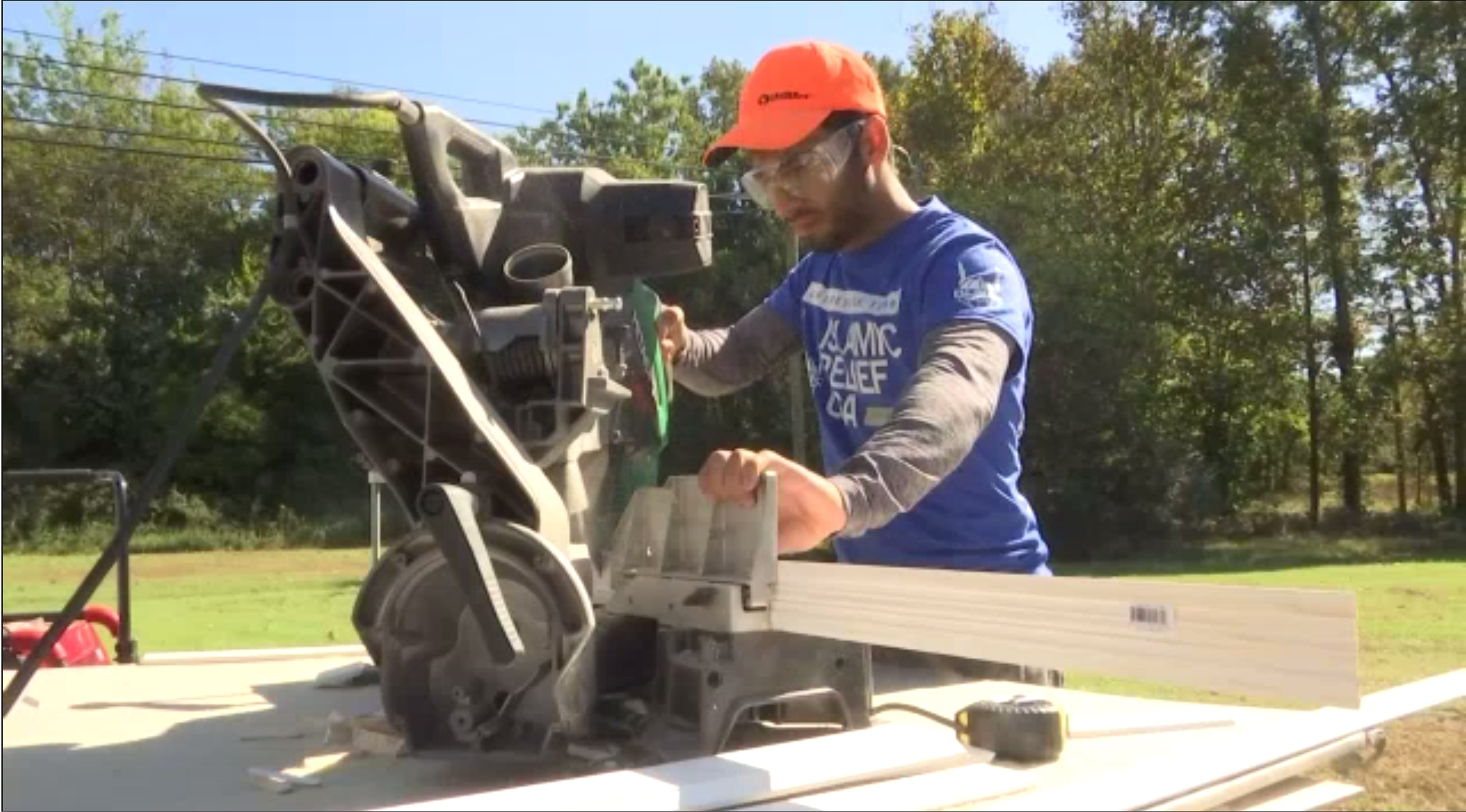 In October 2017, Ahmad Abumraighi traveled to Princeville, NC, with Islamic Relief USA to help rebuild homes damaged by Hurricane Matthew. Click on the photo to see the video of how he and others helped a stranger.  Photo credit: Spectrum News