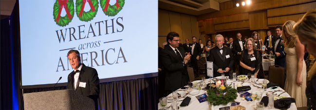Jim Ray giving speech to honor Lee (left) and Donna (right) for their service at the Wreaths Across America Gala