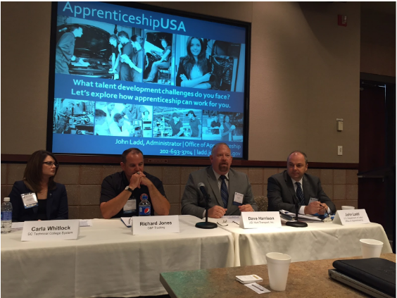 Left to Right: Carla Whitlock, SC Technical College System; Richard Jones, G&P Trucking; Dave Harrison, J.B. Hunt; John Ladd, U.S. Department of Labor Office of Apprenticeship. (Not pictured: panelist Brian Turner, Transportation Learning Center and panel facilitator Annette Summers)