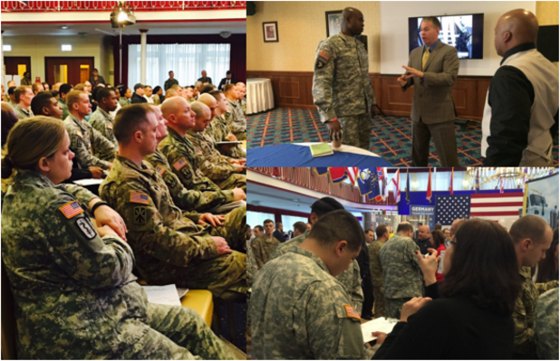 Transitioning Service Members Listen to Panel Discussions and Follow Up with FASTPORT President Brad Bentley (top) and Director of Military Outreach Programs Sharri Justice (bottom)